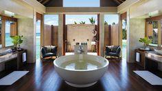 Guest bathroom at Shangri-La's Villingili Resort and Spa in Maldives, a unique…