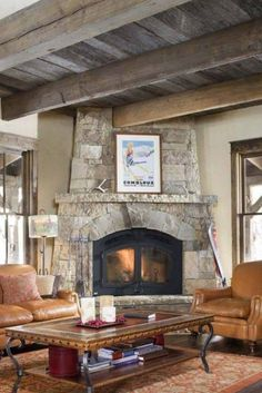 Reclaimed wood ceiling and corner fireplace Outdoor Wood, Traditional Living Room, Fishing Cabin, Maine House, Rustic Living Room, Wood Ceilings, Reclaimed Wood Ceiling, Home Decor, Reclaimed Barn Wood