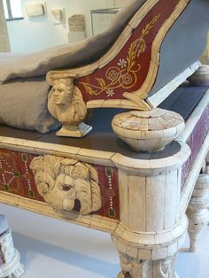 Roman couch and footstool with bone carvings and glass inlays Roman 1st century CE possibly from the villa of co-emperor Lucius Verus 161-169 CE