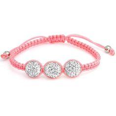 Bling Jewelry Pink Childrens Macrame Bracelet with White Swarovski Crystal Beads 10mm