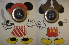 BOTH Mickey & Minnie Mouse Part Magnet Sets WITH Pirate Gear (21 Pcs) - Great for Decorating Your Stateroom Door on Your Next Disney Cruise