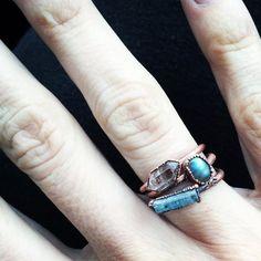 Aquamarine crystal ring  Raw aquamarine ring  March by HAWKHOUSE