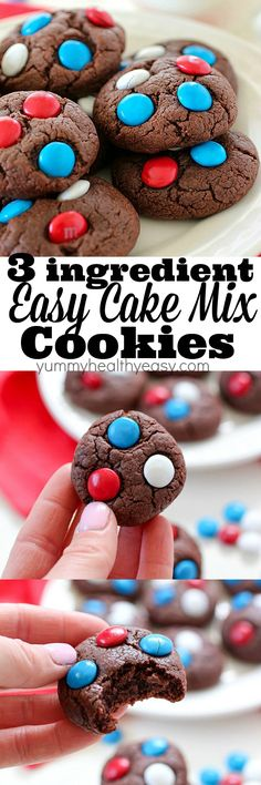"Easy Cake Mix Cookies are just about as easy as ""homemade"" cookies can get! Only three ingredients and they bake up in under 10 minutes! These are great for the beginning baker or for anyone that's in a rush and needs a quick cookie recipe! Oreo Cheesecake Cookies, Cake Mix Cookies, Sugar Cookies Recipe, Cupcakes, Quick Cookies, Homemade Cookies, Yummy Cookies, Easy Cookie Recipes, Healthy Recipes"