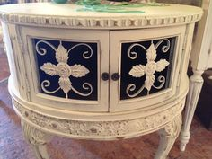 Cottage Painted Shabby Chic Round Table by TessHome on Etsy, $475.00