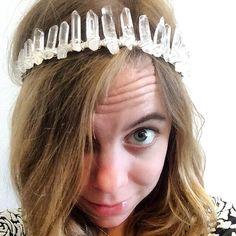 Quartz crystal crown, crystal tiara, crystal headband, festival crown, boho bridal crown, boho headband by heatherfeathercannon on Etsy https://www.etsy.com/listing/397914351/quartz-crystal-crown-crystal-tiara