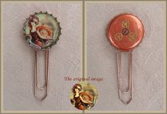 Steampunk Cinderella   --    I made this lovely, steampunk-inspired bookmark as a gift next to a book. It makes it really special, that I built small gears on the back of the bottlecap.