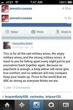 This goes out to anybody with a S/O in the military, it's not easy for anybody & yet we chose to go through this because we know no amount of time apart is worth losing the love of your life. Army Wife Quotes, Proud Army Girlfriend, Air Force Girlfriend, Military Quotes, Usmc Love, Military Love, Military Spouse, Military Relationships, Army Life