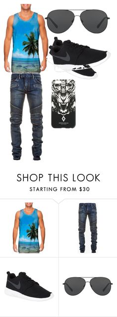 """""""andando in spiaggia..."""" by r-russo2d ❤ liked on Polyvore featuring Balmain, NIKE, Michael Kors, Marcelo Burlon, men's fashion and menswear"""