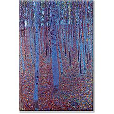 "So serene! ""Beech Forest"" by Gustav Klimt #art"
