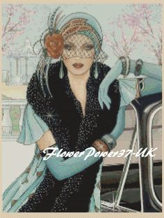 Cross stitch chart Art Deco Lady-7 designs to choose from FlowerPower37-UK | eBay