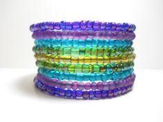 Peacock Purple Blue and Green Memory Wire Bracelet Stacked Boho Wrap Bracelet