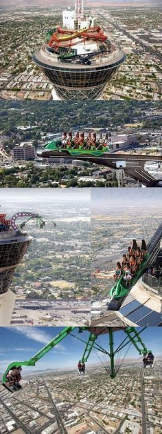 The Stratosphere at Las Vegas>> stayed here, too chicken for the rides tho!