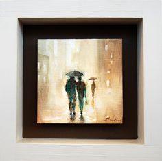 """""""Σιλουέτες στη βροχή"""" 9Χ9εκατ. λάδι σε ξύλο (2015)"""