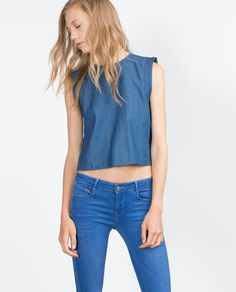 Image 1 of CROPPED DENIM TOP from Zara