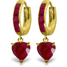 """14K Solid Gold 3.65 ct Sicily Ruby Earrings (""""4162"""") Jewelcology"""