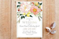 """Spring Blooms"" - Floral & Botanical Wedding Invitations in Blush by Susan Moyal."