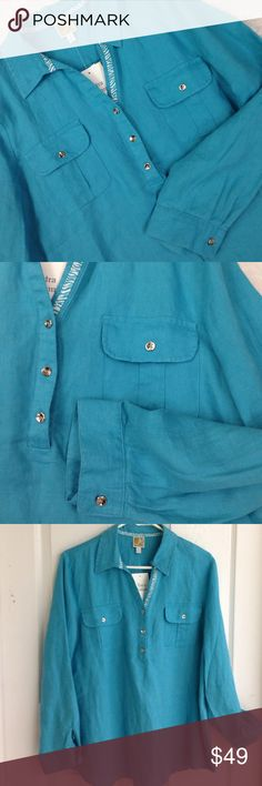 JM Collection Linen Teal Blouse JM Collection Blue blouse(teal bliss) Long sleeves that can be rolled up and buttoned to be made shorter. 100% Linen. Silver tone buttons. NWT never worn. Size 14 JM Collection Tops Blouses