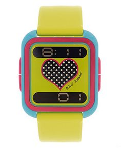 Betsey Johnson Watch, Women's Digital Lime Green Silicone Strap 35mm BJ00117-02 - Featured Brands - Jewelry & Watches - Macy's
