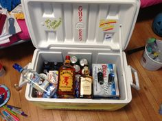 COOLER #1 - made by me!! :) STOCKED FOR BEACH WEEKEND / FORMAL!!!
