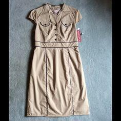 NWT Merona Khaki Dress NWT Merona Khaki Dress with button Detail, Size 4 Merona Dresses