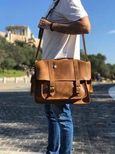 Laptop Briefcase, Briefcase For Men, Leather Briefcase, Laptop Bag, Cool Messenger Bags, Brown Leather Messenger Bag, 17 Inch Laptop, Evil Eye Pendant, Leather Men