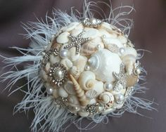 not having a beach wedding but this is awesome Beach Wedding Bouquets, Diy Wedding Bouquet, Craft Wedding, Our Wedding, Beach Weddings, Fall Wedding, Destination Wedding, Seashell Bouquet, Beaded Bouquet