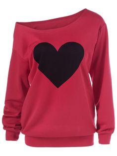 Heart Pattern Skew Collar Sweatshirt in Red | Sammydress.com
