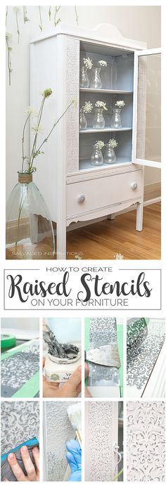 How to Create Raised Stencil Designs - upcycled furniture Refurbished Furniture, Repurposed Furniture, Shabby Chic Furniture, Luxury Furniture, Furniture Makeover, Furniture Decor, Painted Furniture, Bathroom Furniture, Furniture Stores