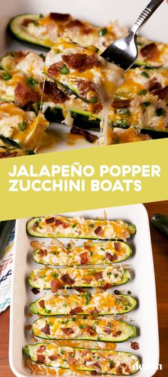 Jalapeño Popper Zucchini Boats Is A Low-Carb DreamDelish Low Carb Dinner Recipes, Diet Recipes, Cooking Recipes, Healthy Recipes, Dessert Recipes, Soup Recipes, Snacks Recipes, Diet Meals, Cooking Food