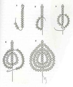 French beaded flowers - petal or leaf tutorial.