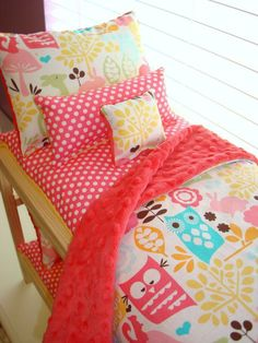 American Girl Doll Bunk Bedding...this is   awesome. It matches the girls bedding too.