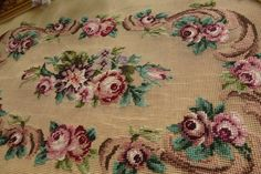 """35"""" Stunning Oblong Rose French Scroll Gorgeous Needlepoint Canvas   eBay"""