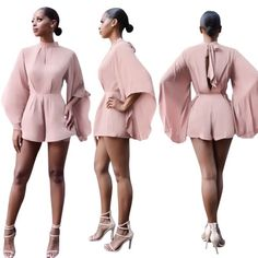 BATWING SLEEVES SEXY WOMEN PLAYSUIT PINK COLOR SHORTS ROMPER JUMPSUIT OVERALLS COMBISHORT