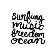Surfing Music Freedom Ocean
