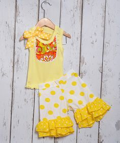 Love this Yellow Floral Tank & Ruffle Shorts - Infant, Toddler & Girls by Beary Basics on #zulily! #zulilyfinds
