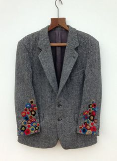 Harris Tweed Jacket Hand Embroidered : Hand Embroidered Harris Tweed Jacket by didyoumakeityourself Embroidery Stitches, Hand Embroidery, Harris Tweed Jacket, Tweed Coat, Wool Coat, Visible Mending, Creation Couture, Gray Jacket, Refashion