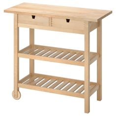 IKEA - FÖRHÖJA, Kitchen trolley, birch, Gives you extra storage in your kitchen. You can quickly view and access what's inside because the drawers can be pulled out from both sides. Open storage with space for 9 bottles on each shelf. Ikea Molger, Ikea Forhoja, Kitchen Island Trolley, Kitchen Islands, Small Kitchen Cart, Kitchen Ikea, Kitchen Storage, Recycling Facility, Ikea Family