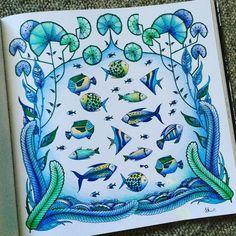 """#fineline #pen #파인라이너 #펜 #색연필 #steadtler #fineliner #johannabasford #파버카스텔  #컬러링북 #enchantedforest  #coloringbook #johannabasford  #florestaencantada…"""