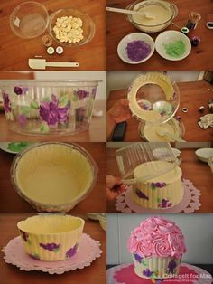 Cookies Cupcake, Big Cupcake, Giant Cupcake Cakes, Ladybug Cupcakes, Kitty Cupcakes, Snowman Cupcakes, Giant Cupcake Recipes, Baking Cupcakes, Cake Decorating Techniques