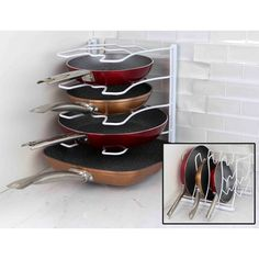 The Home Basics Cooking Pan Organizer keeps your pots and pans neatly arranged. This simple organizer is made of vinyl-coated steel and can hold up. Pot Organization, Organizing Tips, Pan Storage, Storage Ideas, Creative Storage, Extra Storage, Storage Solutions, Diy Kitchen Storage, Kitchen Pantry