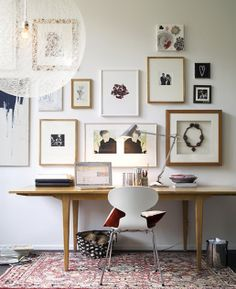 Modern Home Office Inspiration · Workspace Design · Creative Studio · Artist Desk · Gallery Wall Home Office Inspiration, Workspace Inspiration, Interior Inspiration, Inspiration Wall, Interior Ideas, Interior Decorating, Design Interior, Creative Inspiration, Creative Ideas