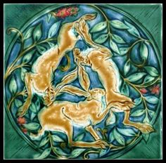 The Three hares. Trinity Hares Tile. Verdant Tile.