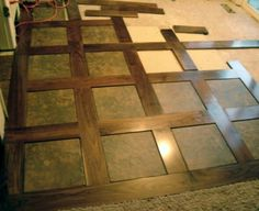 Tile and Wood Basket Weave. Take your measurements, draw out your pattern, arrange tile and wood flooring etc. Wood Tile Floors, Wooden Flooring, Kitchen Flooring, Hardwood Floors, Kitchen Tile, Floor Design, Tile Design, House Design, Wood Basket