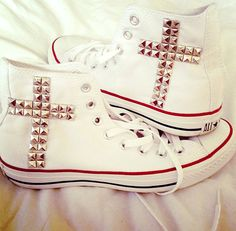 Cross Silver Studded Hightop Converse Chuck Taylor All Stars on Etsy, $70.00