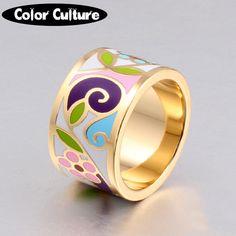 Новое Прибытие Цветок Эмаль Кольцо Позолоченные Геометрические Узоры Кольцо 1.3 СМ Большие Кольца для Женщин Этнические Украшения Матери подарок