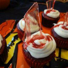 Bloody broken glass cupcakes for Halloween -  http://m.allrecipes.com/recipe/216230/bloody-broken-glass-cupcakes