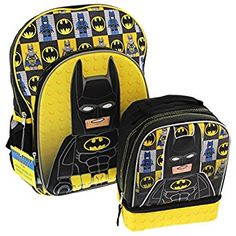 Lego Batman Molded 16 inch Backpack and Lunch Box Set (Black/Yellow, One Size) Comic Book Crafts, Lunch Box Set, Batman Outfits, Dc Super Hero Girls, Buy Lego, Lego Batman, Superhero, Back To School Shopping, Kids Backpacks