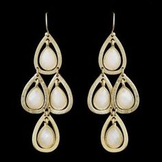New Bridesmaid Gold White D - Earrings - $32.99