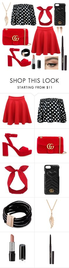 """""""Red & Black"""" by yuliasoldiun ❤ liked on Polyvore featuring Pilot, Sans Souci, Miu Miu, Gucci, Lulu in the Sky, GUESS, BERRICLE, Mary Kay and Stila"""
