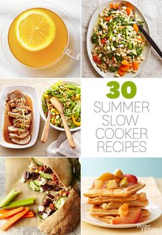 Get creative with your slow cooker this summer! With dishes like pear breakfast bread, jalapeno steak and mushrooms, and sweet sherried fruit, there's something for every meal.